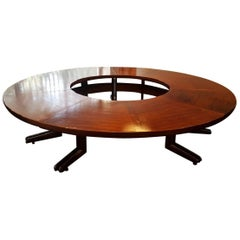 Large Size 10 Persons Round Mahogany Conference Table