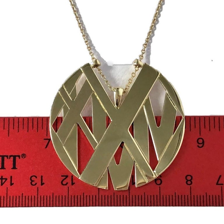 Large Size Tiffany & Co. 18K Yellow Gold Atlas Pendant Long For Sale 1
