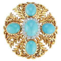 Large Size David Webb Cabochon Turquoise & Diamond Brooch