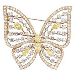 Large Size Fancy Diamond Butterfly Brooch by Van Cleef & Arpels