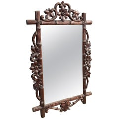 Large Size & Finest Quality Carved Antique Black Forest Wall or Fireplace Mirror
