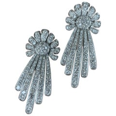 Large Size Floral Diamond Earrings