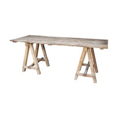Large Size French Rural Trestle Table from the Mid-20th Century