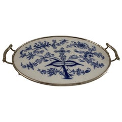 Large Size, Hand Painted & Glazed Delfts Blue Porcelain Tray with Floral Design