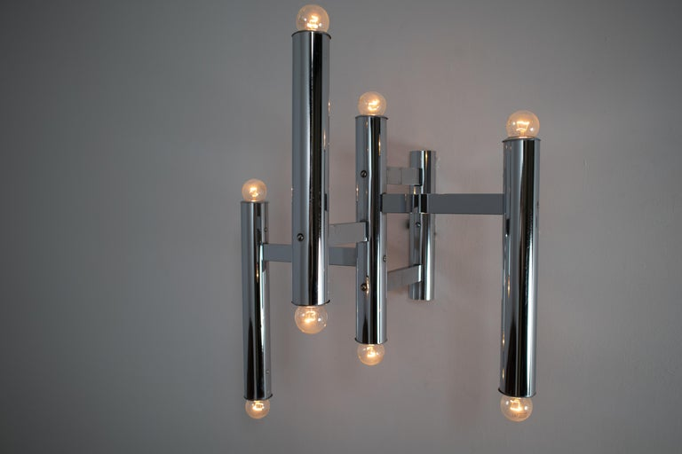 Mid-Century Modern Large Size Mid-Century Chrome Wall Lights by Staff Leuchten, Germany, 1970s For Sale