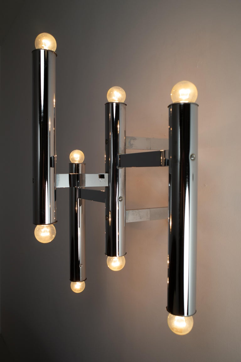Large Size Mid-Century Chrome Wall Lights by Staff Leuchten, Germany, 1970s In Good Condition For Sale In Almelo, NL
