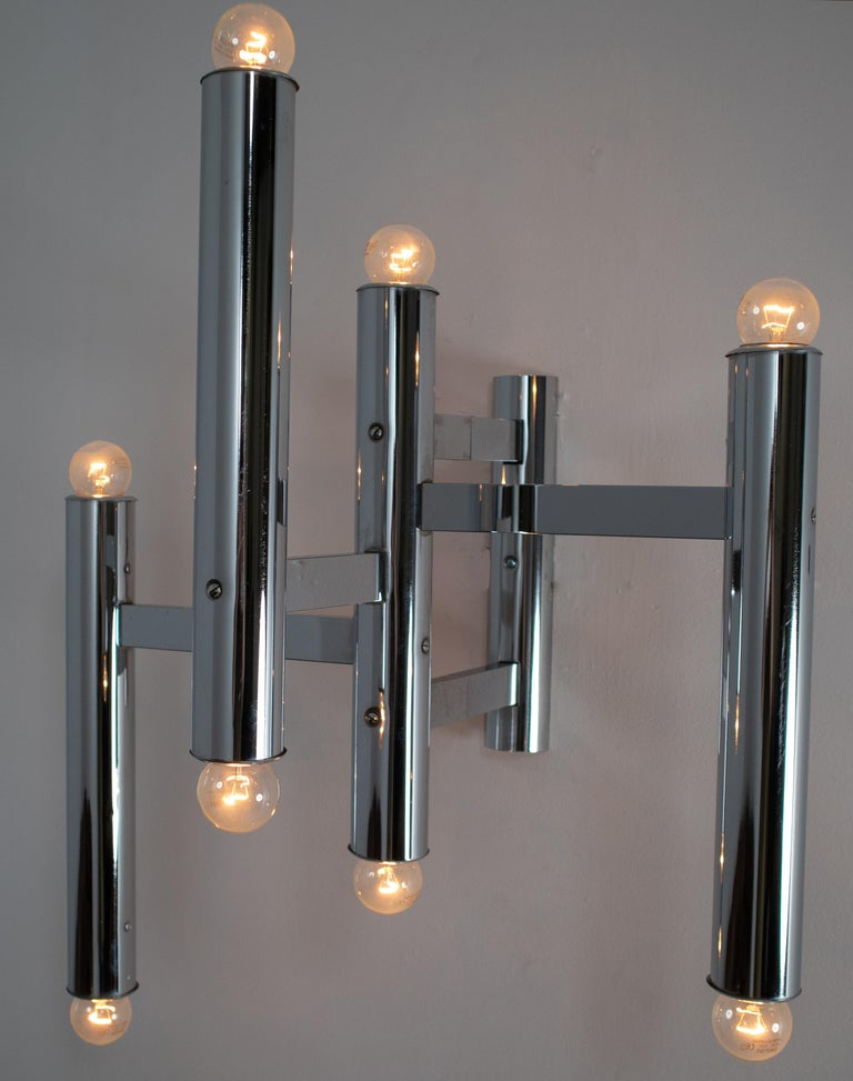 Brass Large Size Mid-Century Chrome Wall Lights by Staff Leuchten, Germany, 1970s For Sale