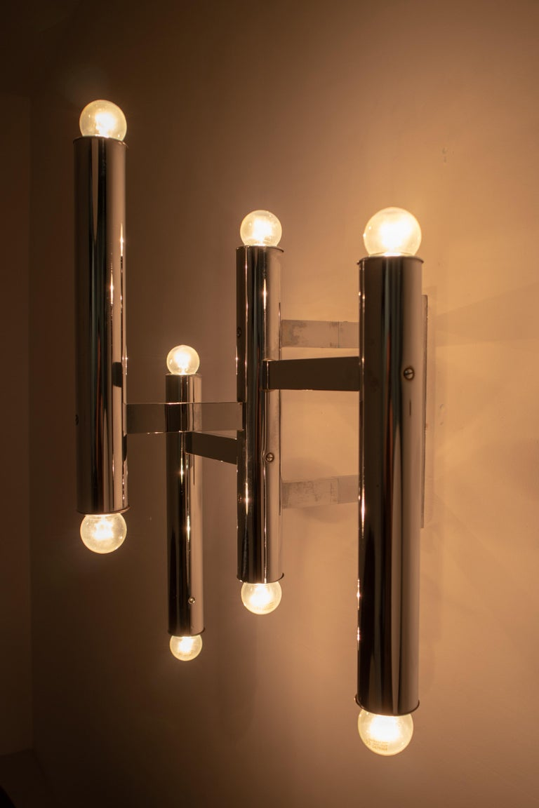 Large Size Mid-Century Chrome Wall Lights by Staff Leuchten, Germany, 1970s For Sale 1