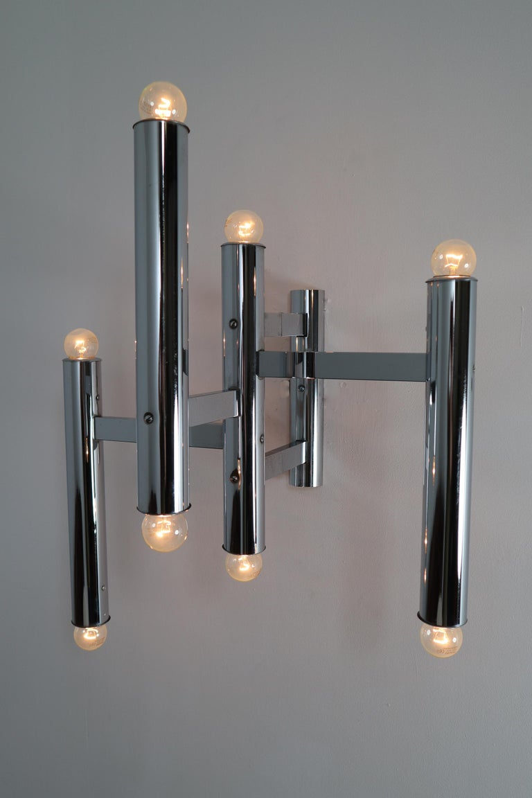 Large Size Mid-Century Chrome Wall Lights by Staff Leuchten, Germany, 1970s For Sale 2