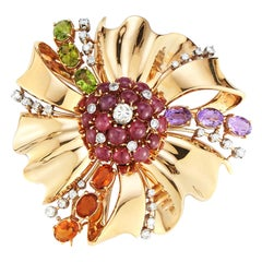 Large Size Retro Multi Gem and Diamond Flower Brooch