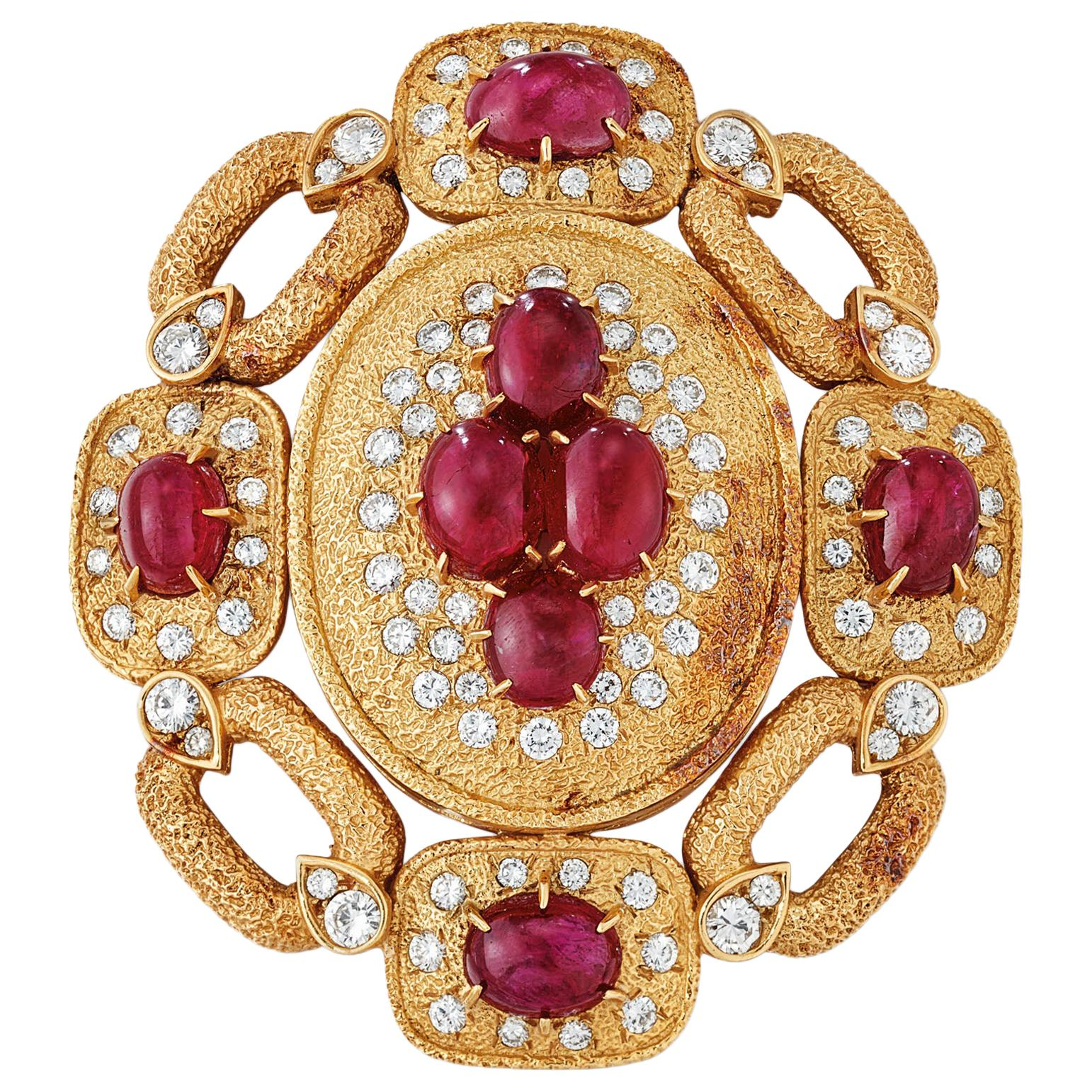 Large Size Van Cleef & Arpels Natural Cabochon Ruby and Diamond Brooch