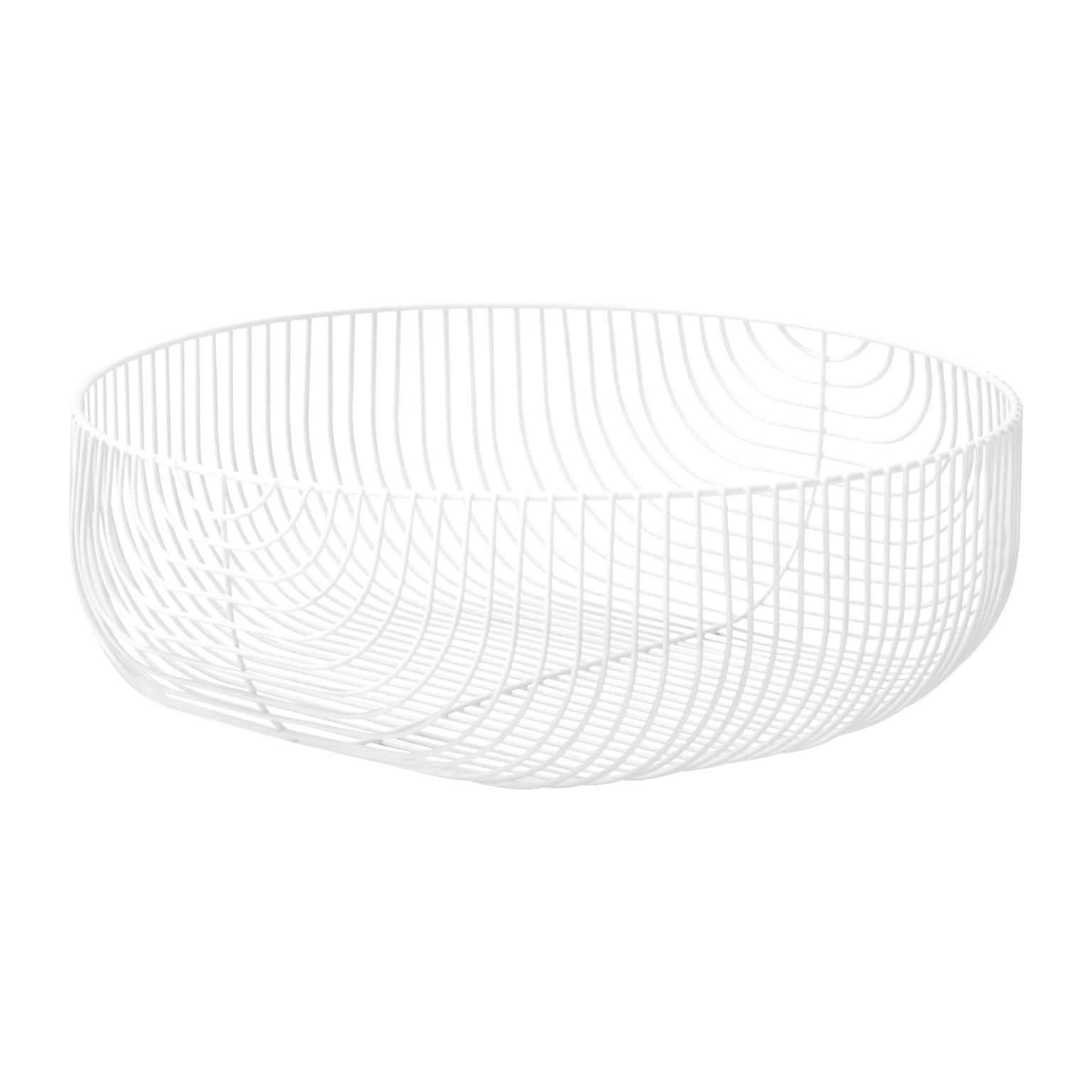 Large Sized Basket, Wire Design by Bend Goods, White