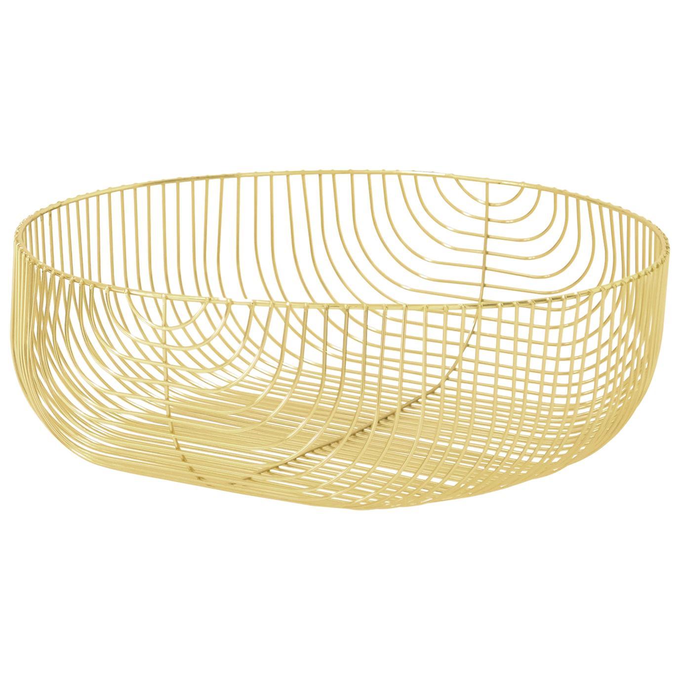 Large Sized Basket, Basket, Wire Design by Bend Goods, Gold
