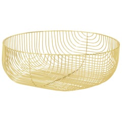 Large Sized Basket, Basket, Wire Design by Bend Goods, Gold