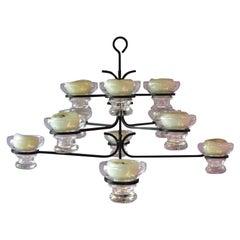 Large Skandinavien Design Twelve Lights Chandelier 1960's Metal Glass