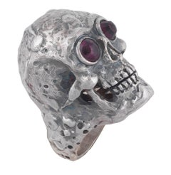 Large Skull Ring with Garnet Sterling Silver