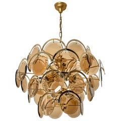 Large Smoked Glass and Brass Chandelier in the Style of Vistosi, Italy