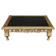 Large Smoked Glass French Louis XV Style Gold Leaf Gilded Coffee Table