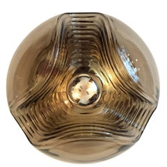 Large Smoked Glass Peill & Putzler Ceiling Wall Lights, 1960s