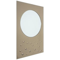 Large Smoked Mirror with Convex Bubble Dots