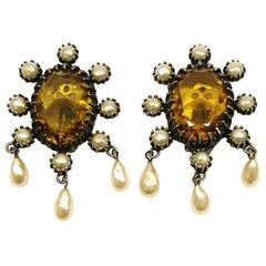 Large smokey quartz and pearl drop earrings, Mitchel Maer by Christian Dior.