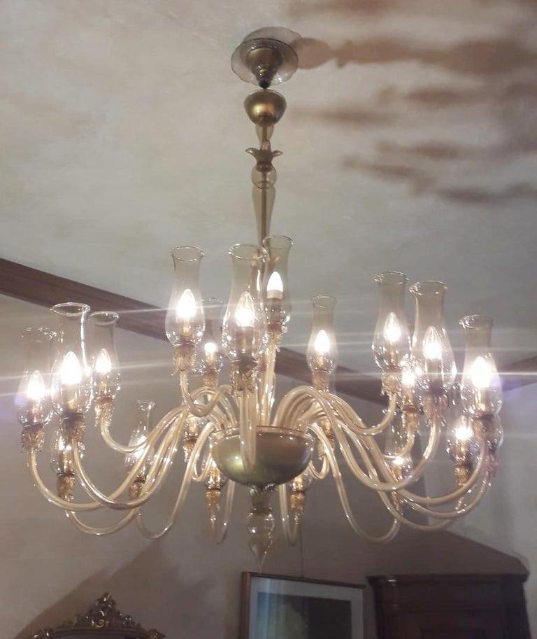 Italian Large Smoky Venetian Chandelier For Sale