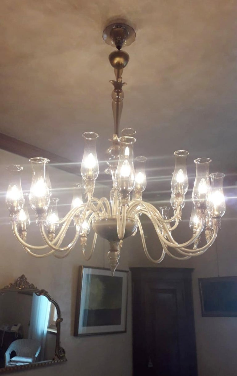 Large Smoky Venetian Chandelier In Good Condition For Sale In Palm Springs, CA