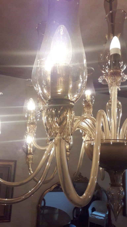 Murano Glass Large Smoky Venetian Chandelier For Sale