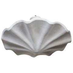 "Large Smooth Undulating Plaster Shell Pendant, 29"""