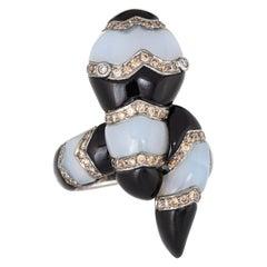 Large Snake Ring Estate Diamond Black Onyx Chalcedony 18 Karat Gold 7 Serpent