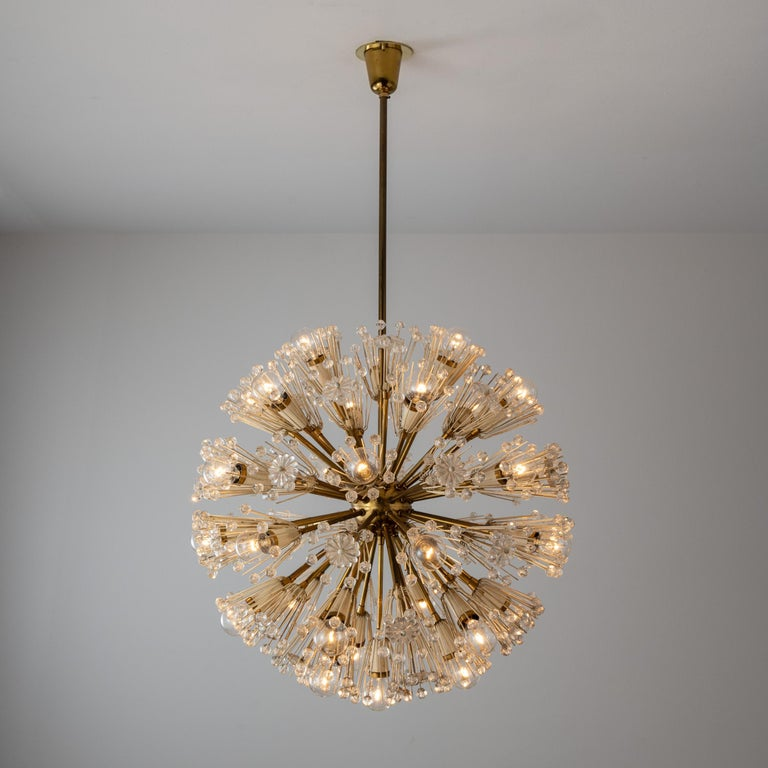Large Snowball Pendant by Emil Stejnar for Rupert Nikoll. Designed and manufactured in Austria, circa 1960's. Brass, glass. Rewired for U.S. standards. Original canopy, custom backplate. We recommend 14 E14 25w maximum bulbs. Bulbs not included.