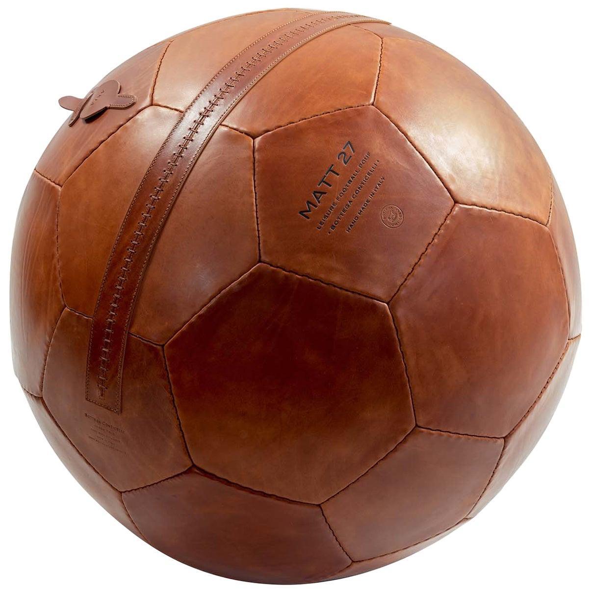 Large Soccer Ball Pouf Brown