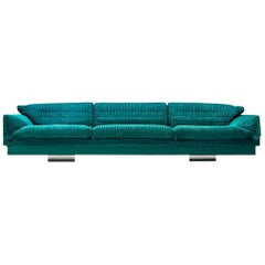 Large Sofa in Green-Blue Fabric by Saporiti
