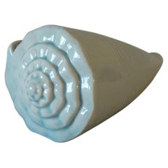 Large Soft Aqua Ceramic Seashell Decorative Sculpture