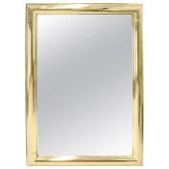 Large Solid Brass Half Round Profile Frame Rectangular Wall Mirror