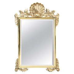 Large Solid Brass Shell Motif Beveled Mirror