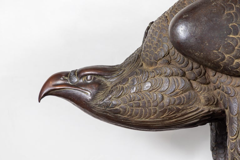 Art Deco Large, Solid Bronze Falcon Sculpture For Sale