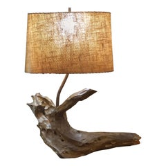 Large Solid Driftwood Lamp with Shade