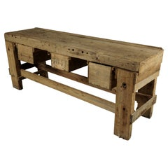 Large Solid Oak Console from France, circa 1950