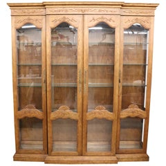 Large Solid Oak French Louis XV Style Breakfront Bookcase Vitrine, circa 1980