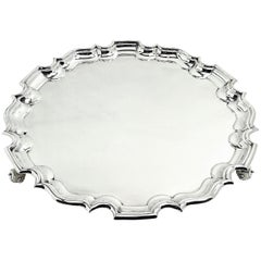 Large Solid Silver Chippendale Salver 1923 Sterling Waiter Tray Platter