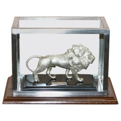 Large Solid Sterling Silver 925 African Lion with Marble Base and Display Case