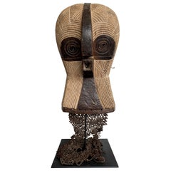 Large Songye Kifwebe Carved Wooden Ceremonial Owl Mask with Original Raffia