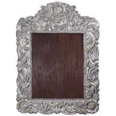 Large South American Repousse Silver Frame, 19th Century
