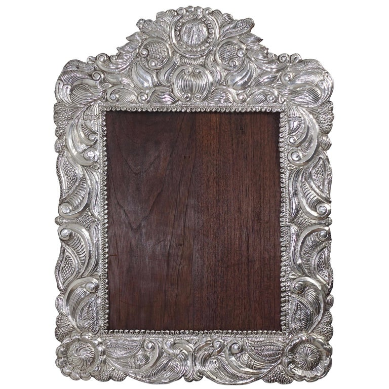 Large South American Repousse Silver Frame 19th Century For