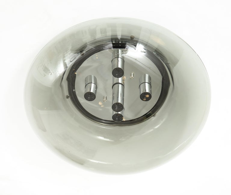 Large Space Age Ceiling / Flush Mount Fixture by Doria In Excellent Condition For Sale In New York, NY