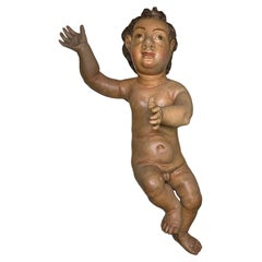 Large Spaniard Hand Painted and Carved Wood Baby Jesus