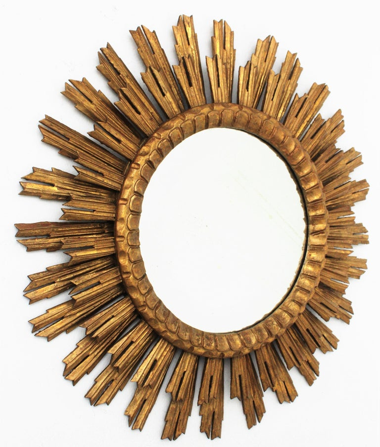 Baroque Large Giltwood Sunburst Mirror, Spain, 1920s For Sale