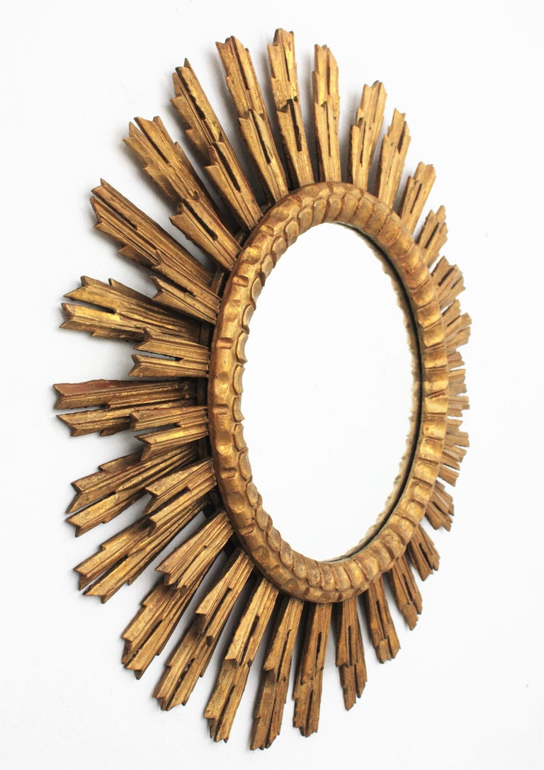 Spanish Large Giltwood Sunburst Mirror, Spain, 1920s For Sale
