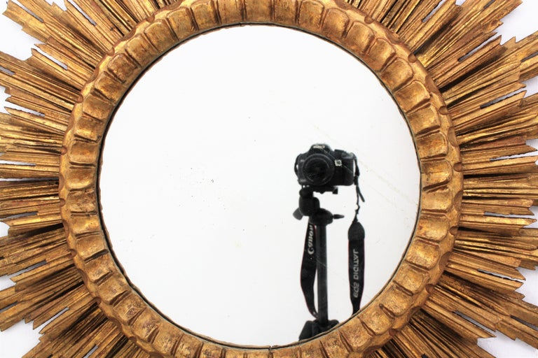 20th Century Large Giltwood Sunburst Mirror, Spain, 1920s For Sale